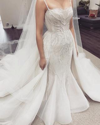 Spaghetti Straps Sequins Mermaid Wedding Dresses   Cheap Bridal Gowns With Detachable Train_4