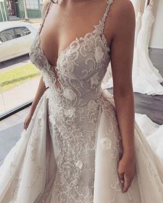 Spaghetti Straps V-neck Beading Wedding Dresses | Backless Appliques Bridal Gowns With Detachable Train_4