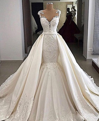 Sheer Tulle Appliques Mermaid Wedding Dresses   Sleeveless Detachable Train Bridal Gowns_2