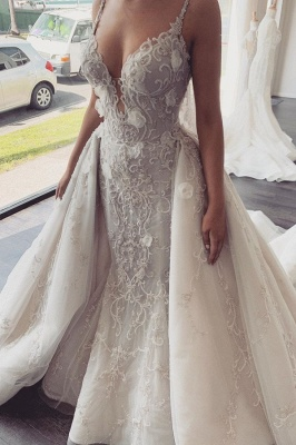 Spaghetti Straps V-neck Beading Wedding Dresses | Backless Appliques Bridal Gowns With Detachable Train