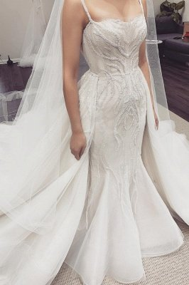 Spaghetti Straps Sequins Mermaid Wedding Dresses | Cheap Bridal Gowns With Detachable Train