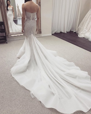 Spaghetti Straps Sequins Mermaid Wedding Dresses | Cheap Bridal Gowns With Detachable Train_3