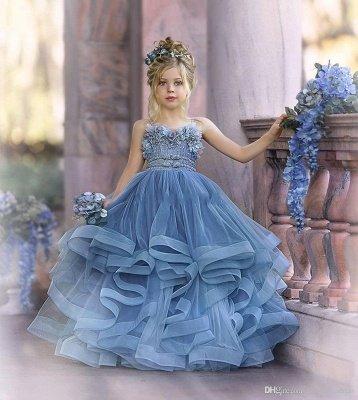 Strapless Blue Ruffles Puffy Princess Flower Girl Dresses_5