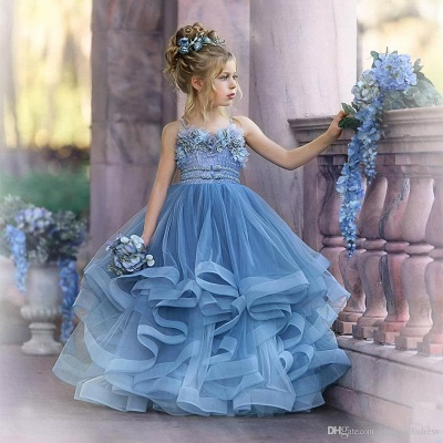Strapless Blue Ruffles Puffy Princess Flower Girl Dresses_6