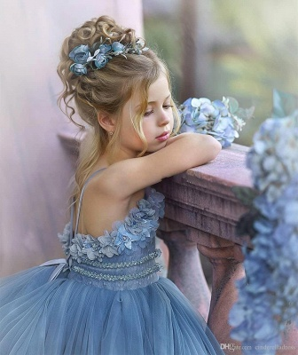 Strapless Blue Ruffles Puffy Princess Flower Girl Dresses