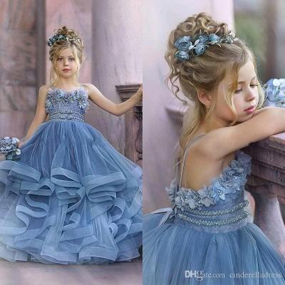 Strapless Blue Ruffles Puffy Princess Flower Girl Dresses_3