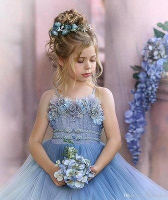 Strapless Blue Ruffles Puffy Princess Flower Girl Dresses_4
