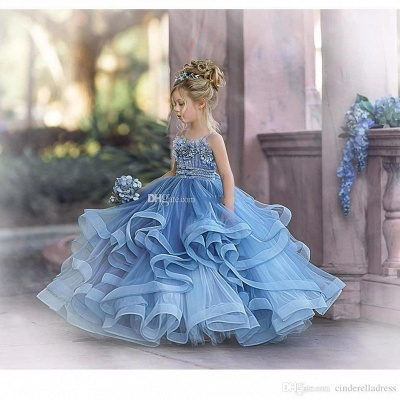 Strapless Blue Ruffles Puffy Princess Flower Girl Dresses_2
