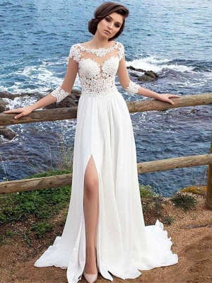 White Lace Appliques Tulle Simple Wedding Dress Side Split_4