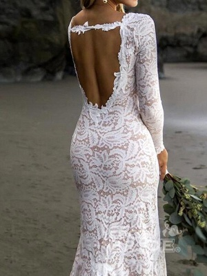 Gorgeous Mermaid/Trumpet Wedding Dresses V Neck Sweep Train Lace Satin Long Sleeve_3