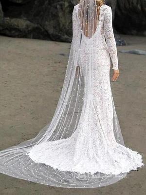 Gorgeous Mermaid/Trumpet Wedding Dresses V Neck Sweep Train Lace Satin Long Sleeve_2