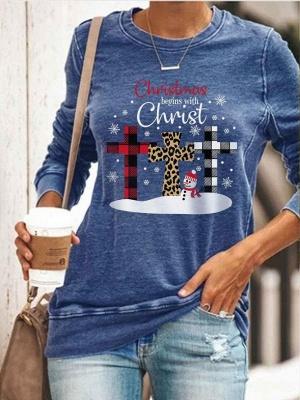 Weihnachtspullover Shirt Langarm Frauen Top Rundhalsausschnitt_1