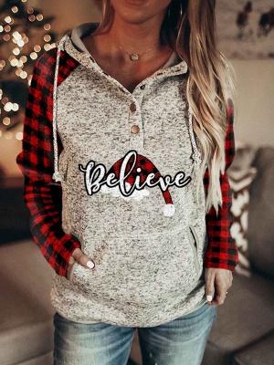 Sweats à capuche de Noël pour femmes Sweat-shirt à manches longues imprimé Believe_2