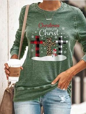 Weihnachtspullover Shirt Langarm Frauen Top Rundhalsausschnitt_4