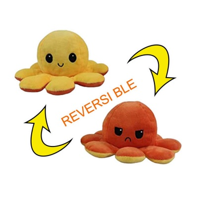 5pcs Reversible Octopus Plush Toys 20*10 cm Emotion Stuffed Animal Mood Changing Happy Sad Angry Mad Grumpy Flippable Inside out Emotional_5
