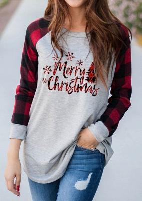 Women Merry Christmas Print Plaid Blouse Casual Long Sleeve Tops_2
