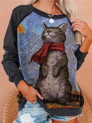 Long Sleeve Cat Print Sweatshirt for Women_2