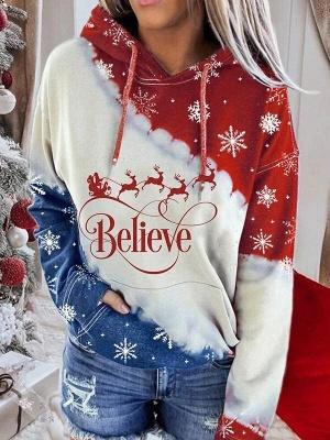 Snowman Printed Hoodies Casual Sweatshirt Long Sleeve Top for Women_2