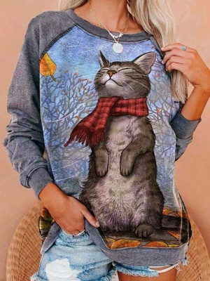 Long Sleeve Cat Print Sweatshirt for Women