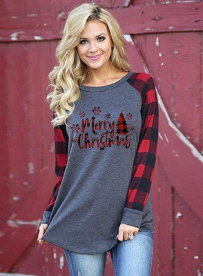 Women Merry Christmas Print Plaid Blouse Casual Long Sleeve Tops