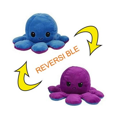 5pcs Reversible Octopus Plush Toys 20*10 cm Emotion Stuffed Animal Mood Changing Happy Sad Angry Mad Grumpy Flippable Inside out Emotional_12