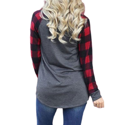 Christmas Printed T-shirts Grid Long Sleeve Blouse for Women_2