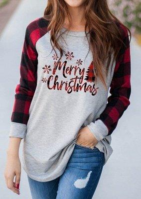 Frauen Frohe Weihnachten Print Plaid Bluse Casual Langarm Tops_2