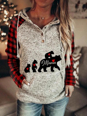 Bear Family Hoodies Sweatshirts Winter Casual Long Sleeve