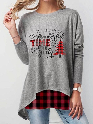 Long Sleeve Christmas Tops Button Back T-shirt