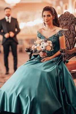 Robes de soirée à épaules dénudées Appliques florales Robe de bal A-ligne_1