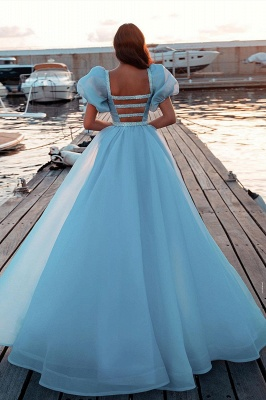 Glitter Sky Blue Mermaid Evening Gowns Short Puffy Sleeve Party Gowns_2