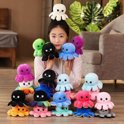 5pcs Reversible Octopus Plush Toys 20*10 cm Emotion Stuffed Animal Mood Changing Happy Sad Angry Mad Grumpy Flippable Inside out Emotional_14