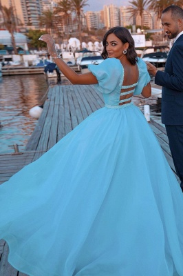 Glitter Sky Blue Mermaid Evening Gowns Short Puffy Sleeve Party Gowns_4