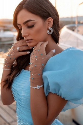 Glitter Sky Blue Mermaid Evening Gowns Short Puffy Sleeve Party Gowns_5