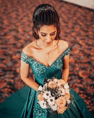 Robes de soirée à épaules dénudées Appliques florales Robe de bal A-ligne_3