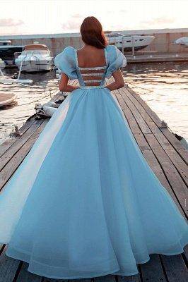 Himmelblaue Meerjungfrau Abendkleider Kurz Puffy Sleeve Party Kleider_2