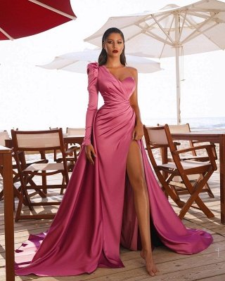 Sexy one shoulder satin prom gown side split party dress_4