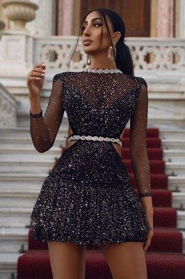 Sparkly Mini Prom Dress Pailletten Langarm Homecoming Kleid_2