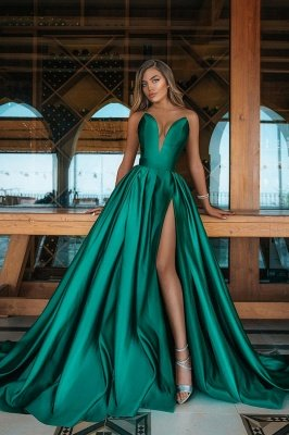 Deep Double V-neck Evening Maxi Dress Satin Side Split Party Gowns