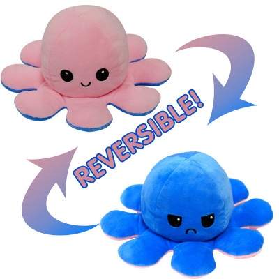 5pcs Reversible Octopus Plush Toys 20*10 cm Emotion Stuffed Animal Mood Changing Happy Sad Angry Mad Grumpy Flippable Inside out Emotional_3