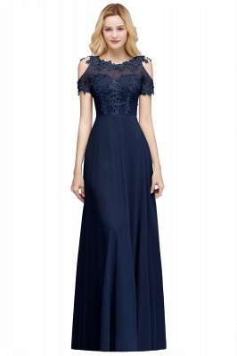 Appliques A-Line Cold-Shoulder Scoop Cheap Beaded Silver Bridesmaid Dresses_1