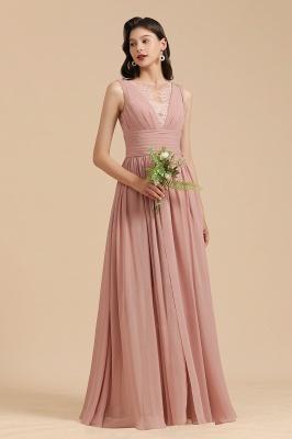 Elegant Sleeveless Ruffle Chiffon Aline Bridesmaid Dress Simple Wedding Dress Floor length_4