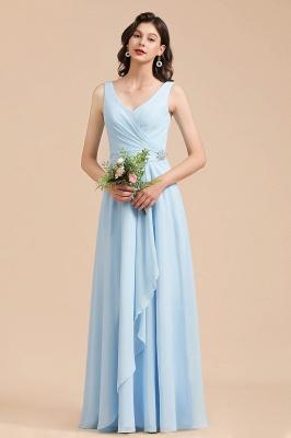 Sleeveless V-Neck Ruffle Chiffon ALine Bridesmaid Dress Simple Wedding Dress_4