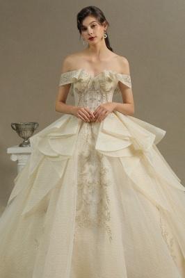 Wunderschönes schulterfreies Blumengartenballkleid aus Tüllspitze mit Brautkleid für die Braut_3