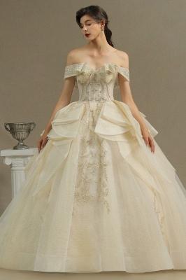 Wunderschönes schulterfreies Blumengartenballkleid aus Tüllspitze mit Brautkleid für die Braut_2