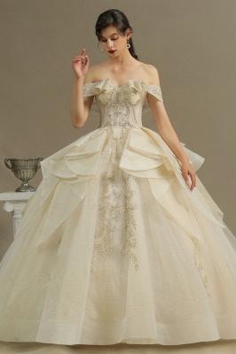 Wunderschönes schulterfreies Blumengartenballkleid aus Tüllspitze mit Brautkleid für die Braut_1