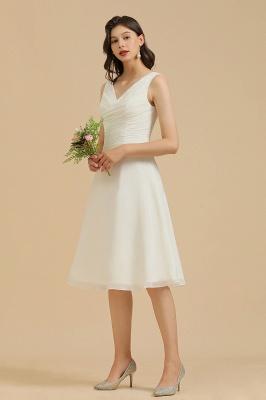 Robe de soirée blanche sans manches en mousseline de soie au genou_8