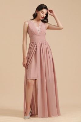 Elegant Sleeveless Ruffle Chiffon Aline Bridesmaid Dress Simple Wedding Dress Floor length_5