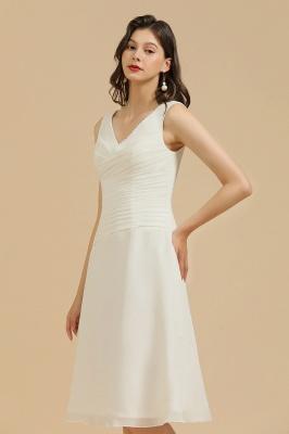 Robe de soirée blanche sans manches en mousseline de soie au genou_4