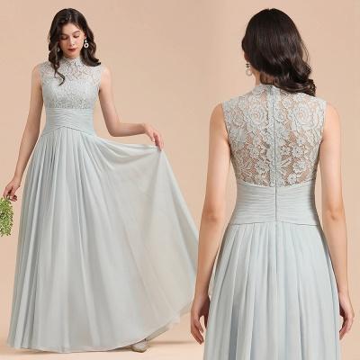 Halter Aline Floor Length Bridesmaid Dress Sleeveless Evening Party Dress_10